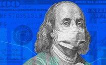 A custom image of a $100 bill and a mask.