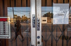 A framing art gallery is closed in Venice Beach, California, during the coronavirus pandemic.