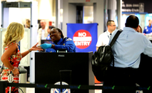 Woman going through airport security