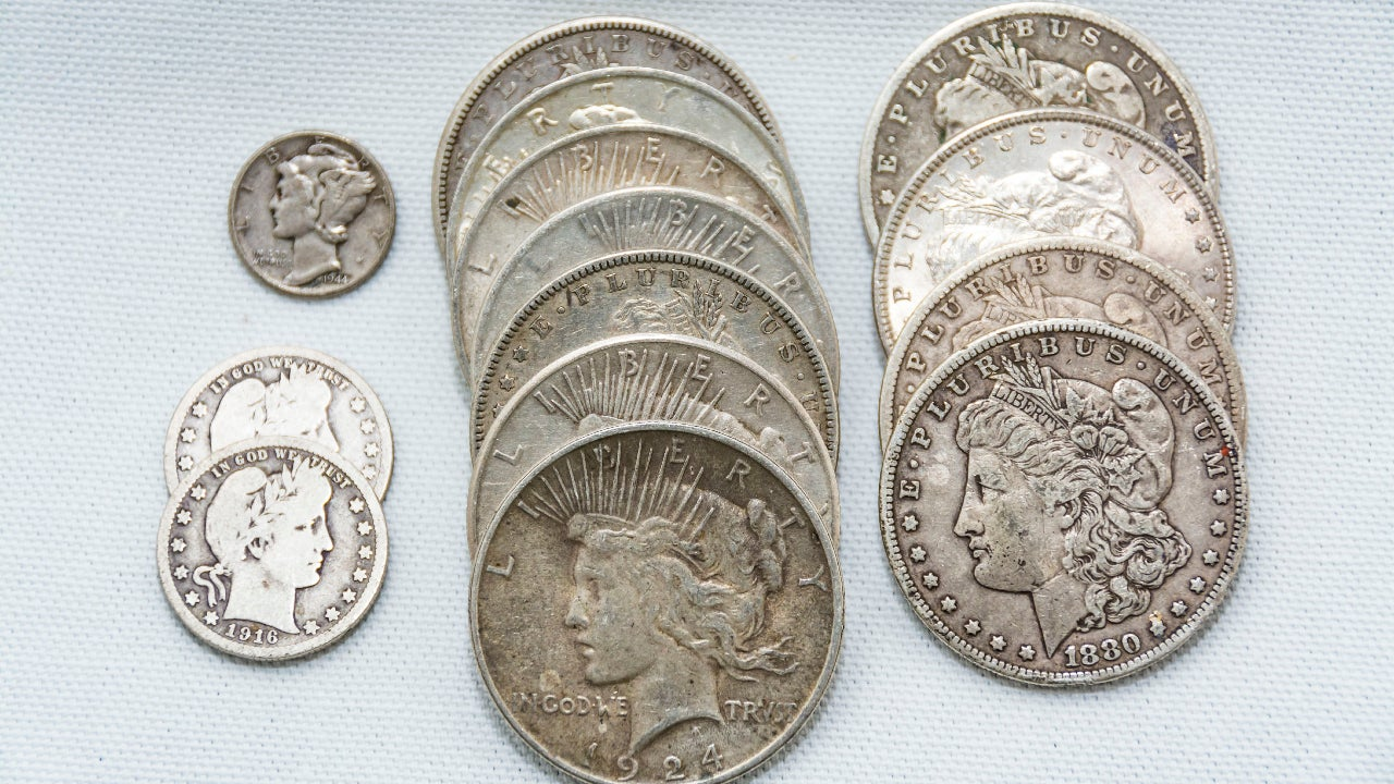 A picture of American silver coins