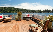 Lakeside patio on a summer day