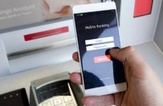 A mobile banking app used at the ATM.