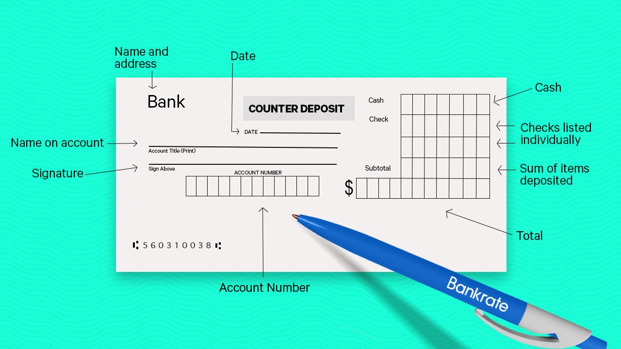 A deposit slip