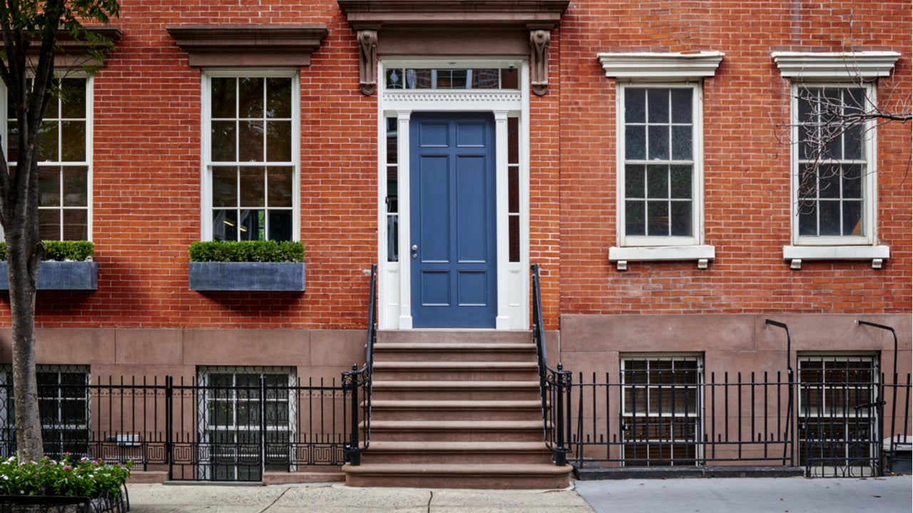 A brownstone townhouse