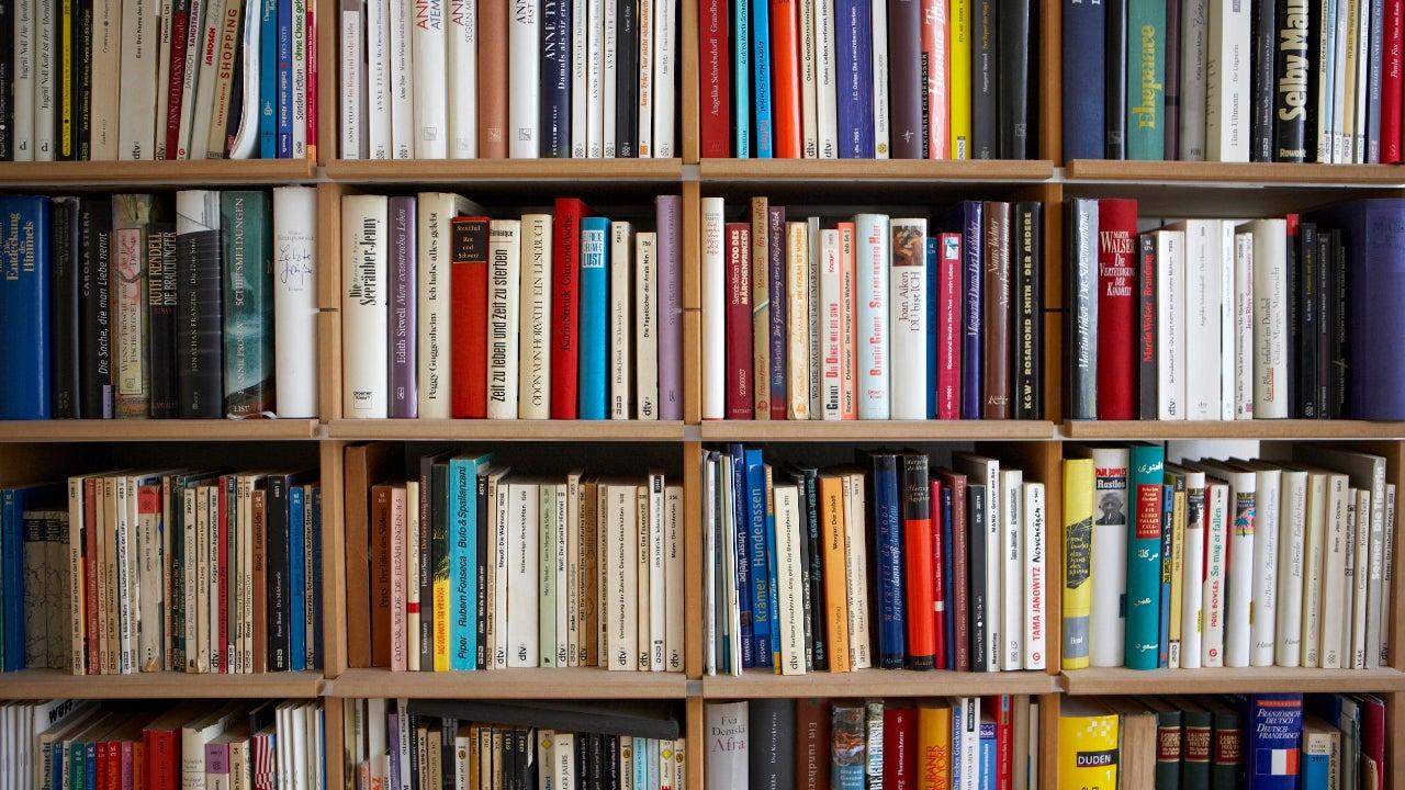 Various books on shelves