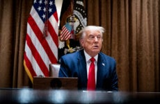 President Donald Trump makes remarks as he meets with U.S. Tech Workers