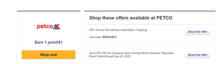 a screenshot of a Rapid Rewards shopping offer