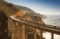 The Bixby Bridge of California with its giant struts and curving path through the canyon!