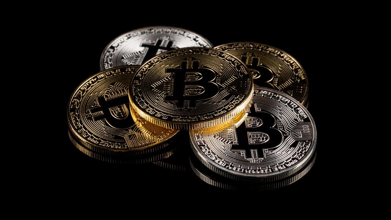 An artist's rendering of bitcoin