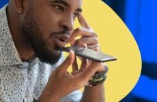 A man uses a voice assistant