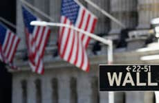 A picture of the Wall Street sign and American flags