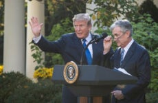 Donald Trump and Jerome Powell speaking from the White House Rose Garden