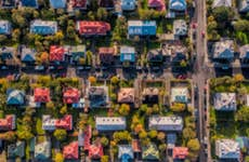 A picture of a residential neighborhood from above