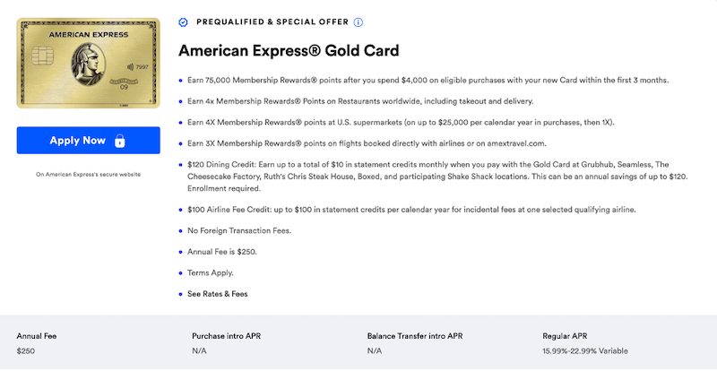 Amex Gold CardMatch offer