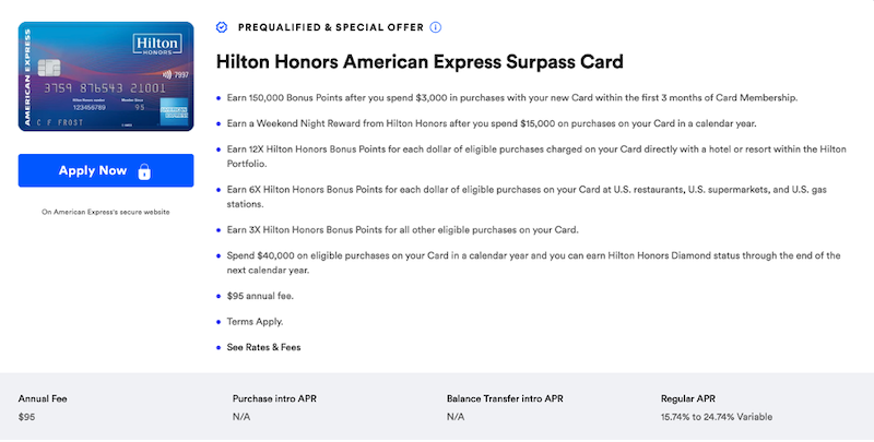 Hilton Honors Surpass Card CardMatch offer