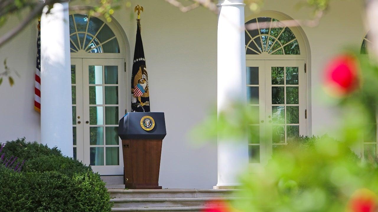 White House podium outdoors
