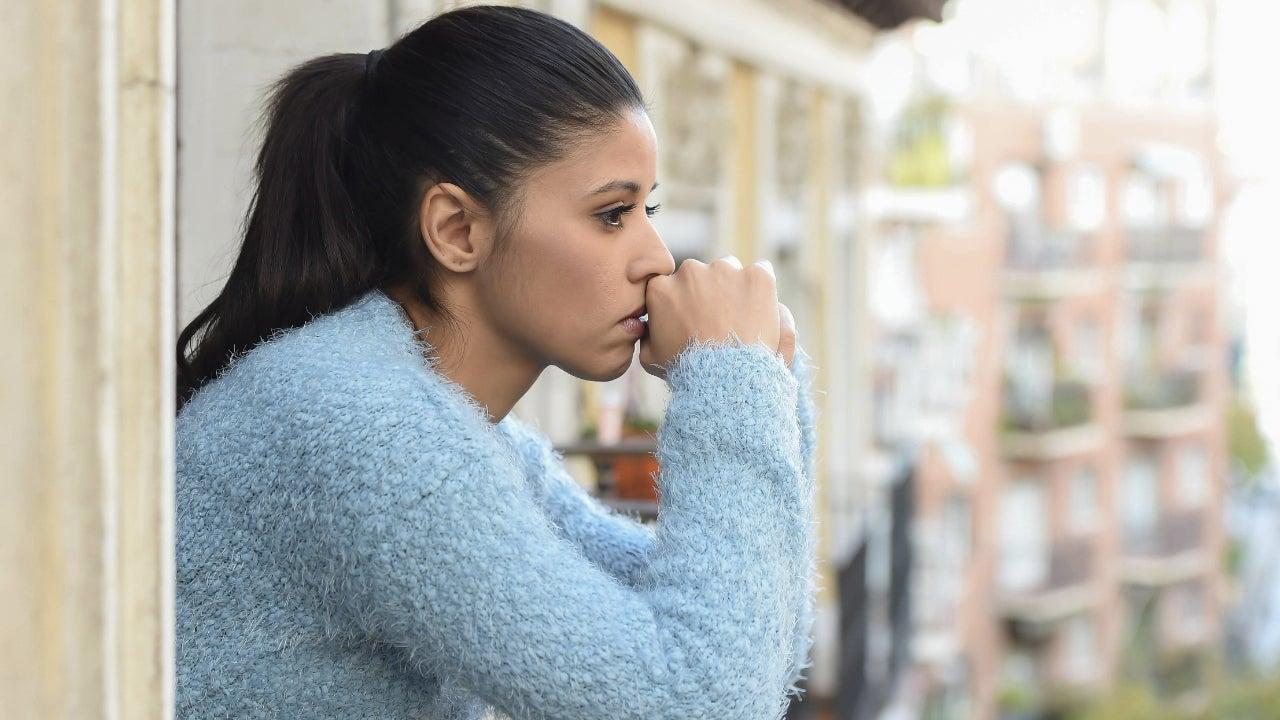 A woman who looks sad.