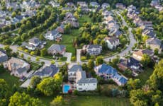 Aerial view of a suburban neighborhood.