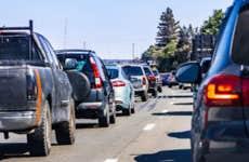 Heavy traffic on a freeway