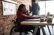 Businesswoman in wheelchair