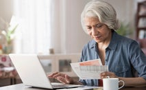 Cardholder checking her billing address