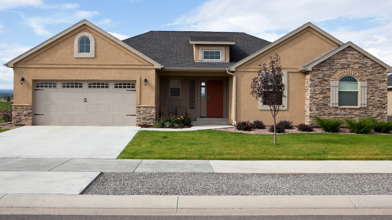A single-story home with attached garage
