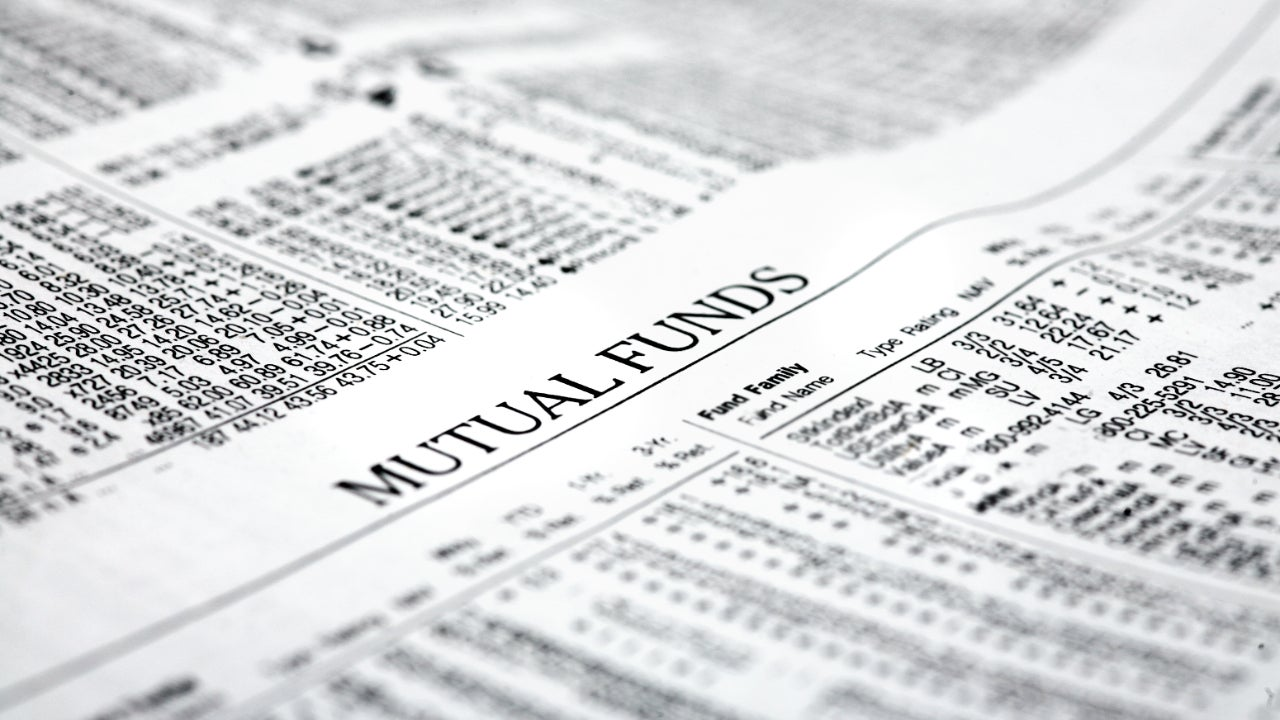 A newspaper showing the prices of mutual funds