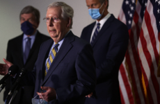 Sen. Mitch McConnell speaks to reporters