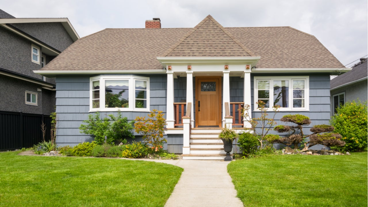 A single-story home with lawn and front path
