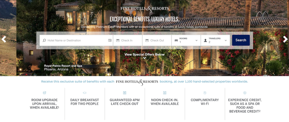 American Express Fine Hotels & Resorts home page