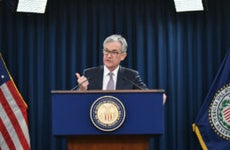 Federal Reserve Chairman Jerome Powell speaks at a press conference