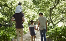 A family walking together in the woods on a nice, sunny hike.