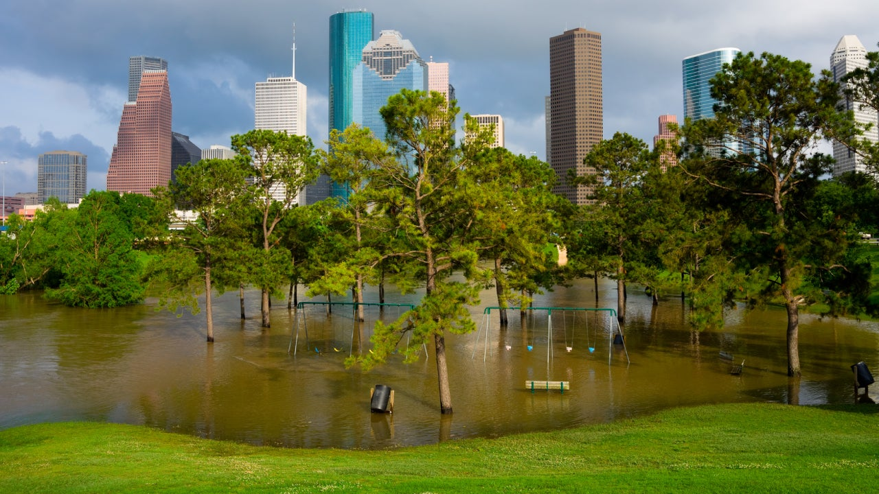 A playground outside of Austin that is flooded after a storm.