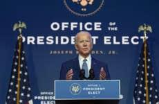 President-elect Joe Biden speaks to the media after the transition advisory board