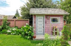 Pink shed in a backyard garden