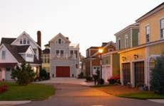 Suburban houses at dusk
