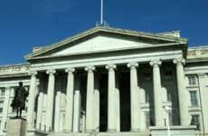 Exterior of the U.S. Department of Treasury building.