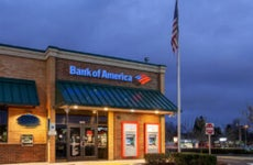 Bank of America branch at night