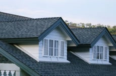 A closeup of a home's roof
