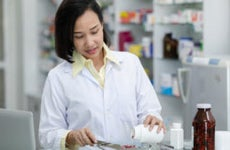Pharmacist works with medication