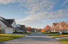Suburban homes on a street with fall foliage.