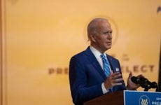 Joe Biden speaks on stage