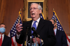Senate Majority Leader Mitch McConnell (R-KY) talks with reporters.