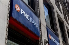 Signage is displayed outside a PNC Financial Services Group Inc. bank branch