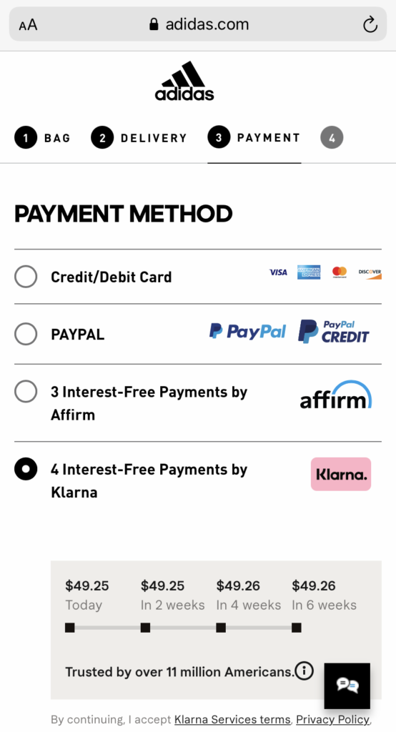 Screenshot of the Klarna app showing how a user can pay in installments with no fee