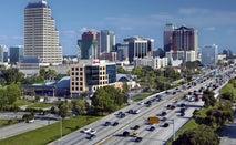 Busy interstate leading into Orlando, Florida