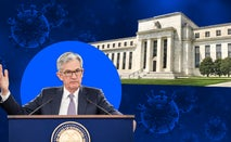 Federal Reserve Chairman Jerome Powell and the Fed Eccles Building illustration