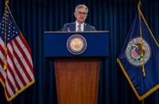Federal Reserve Chairman Jerome Powell speaks at post-meeting press conference.