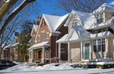 Suburban houses in the snow