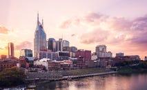 Skyline of Nashville at sunset.